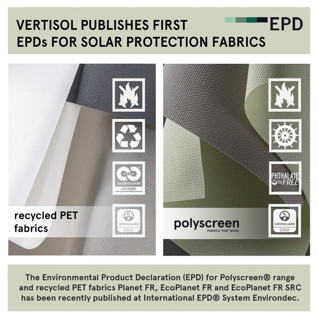 Vertisol publishes first EPDs for solar protection fabrics